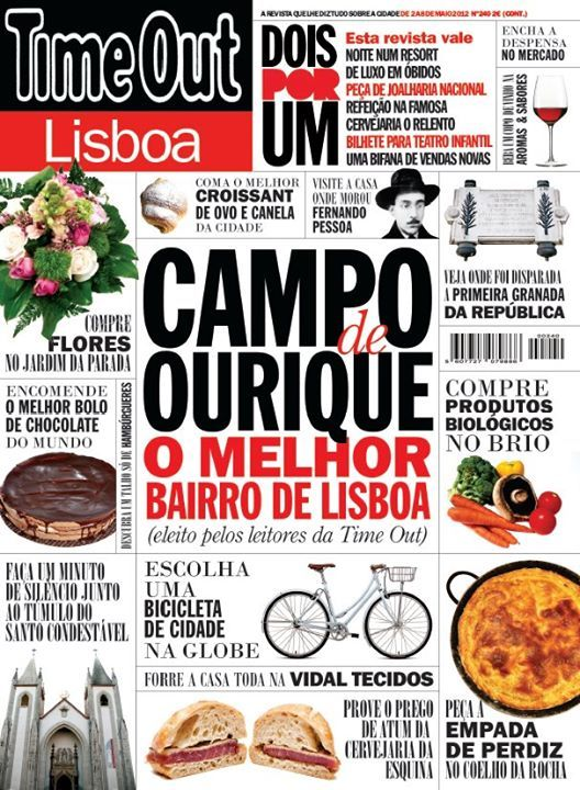 """Cover for Time Out Lisboa - Lisbon's best neighbourhood - number 240. The winning neighbourhood, Campo de Ourique, is a very small and squared neighbourhood that has a little bit of everything in every corner, you just have to know where to look. So I grabbed on to that corner concept and tried to sell the idea of """"there's loads of different things you can do here, wanna know more about it? Look inside"""""""