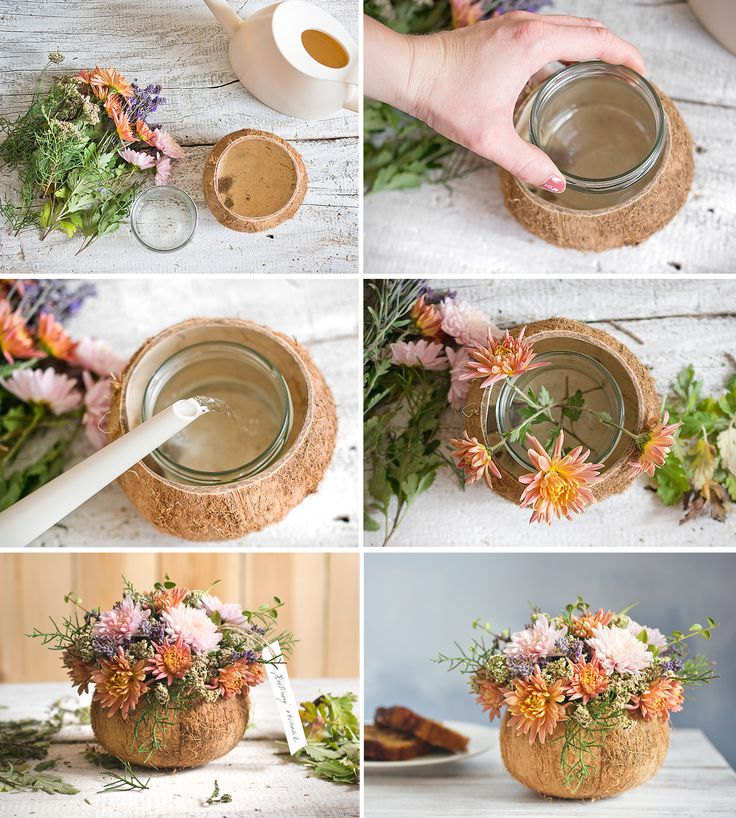 Autumn bouquet in the coconut shell, chrysanthemum, lavender, achillea...  https://www.facebook.com/kvetinovyobchodik/?fref=ts