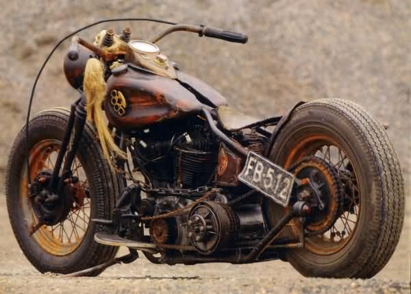 Brown Harley Rat Bike Picture