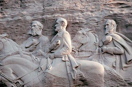 Carving on Stone Mountain. Stonewall Jackson, Jefferson Davis, and Robert E. Lee