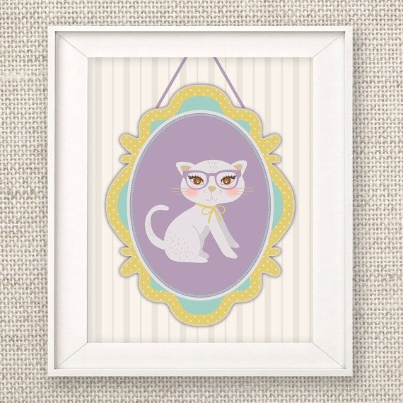 Cat Wall Art, Instant Download, 11x14, Hipster Cat Nursery art, Cat Art Print    Dress up your space with this shabby chic cat in an ornate frame.