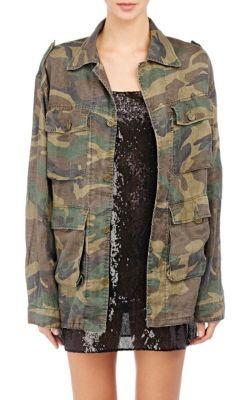 Saint Laurent Camouflage Oversized Military Jacket at Barneys New York