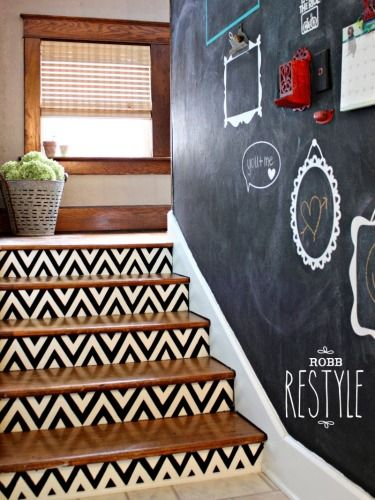 10 Ways to Totally Revamp Your Staircase...love the painted frames on the chalkboard paint wall!