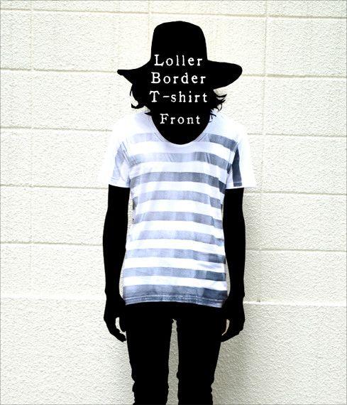 ボーダーのラインをローラーで引いたTシャツです。後ろ裾には自作絵本のキャラクター『1君』が眠っているプリントが(3枚目の画像)深いUネックが特徴。プリントはロ...|ハンドメイド、手作り、手仕事品の通販・販売・購入ならCreema。