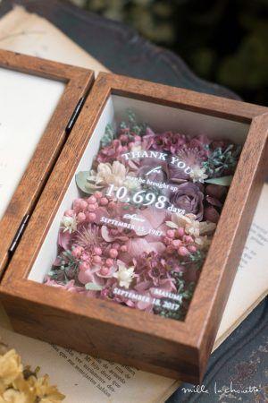 【両親への感謝状】ピンクアジサイ×パープルローズ アンティーク フラワーフォトボックス【贈呈用】
