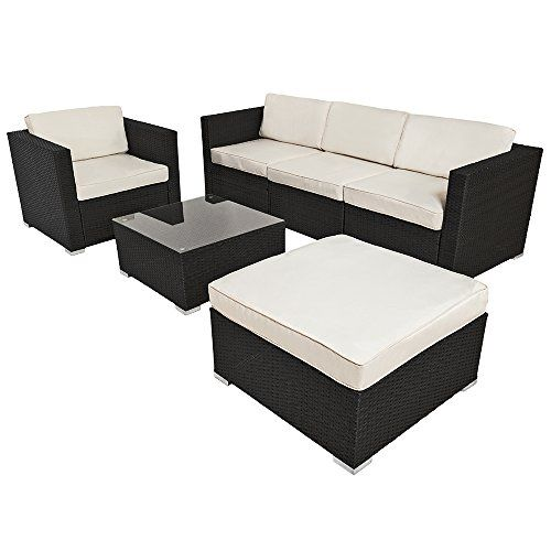 Beautiful TecTake Luxury rattan aluminium garden furniture sofa set outdoor wicker black