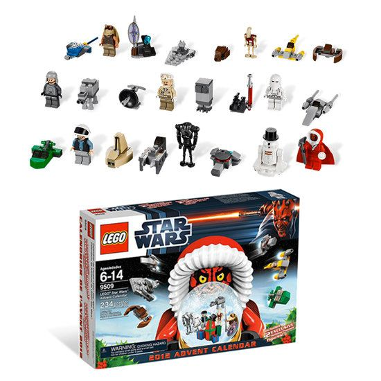 The 2012 Lego Star Wars Advent Calendar complete with Darth Maul in a Santa-inspired hoodie and R2D2 as a snowman (or the other way around ... we're not really sure.)