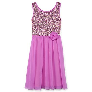 Disorderly Kids® Sequin-Bodice Dress With Textured Chiffon Skirt - Girls 7-16 - jcpenney