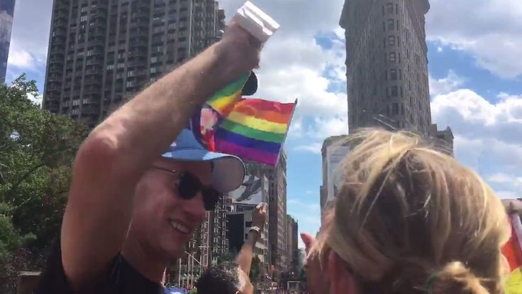 NBA Commissioner Adam Silver bustin' a move on the NBA's official Pride Parade float