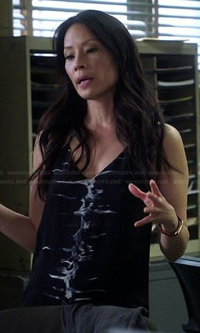 Joan's black tie dyed cami dress on Elementary.  Outfit Details: https://wornontv.net/39434/ #Elementary