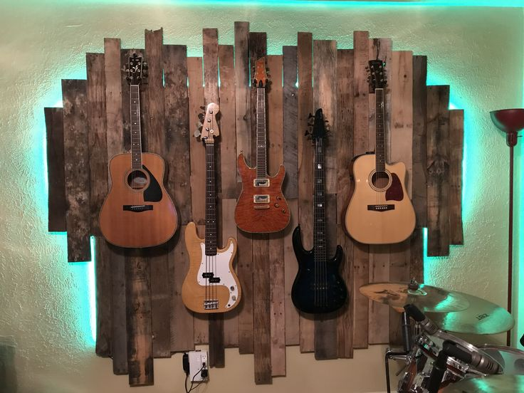 Guitar Wall Display Led Pallet Wall Palletwall Pallets