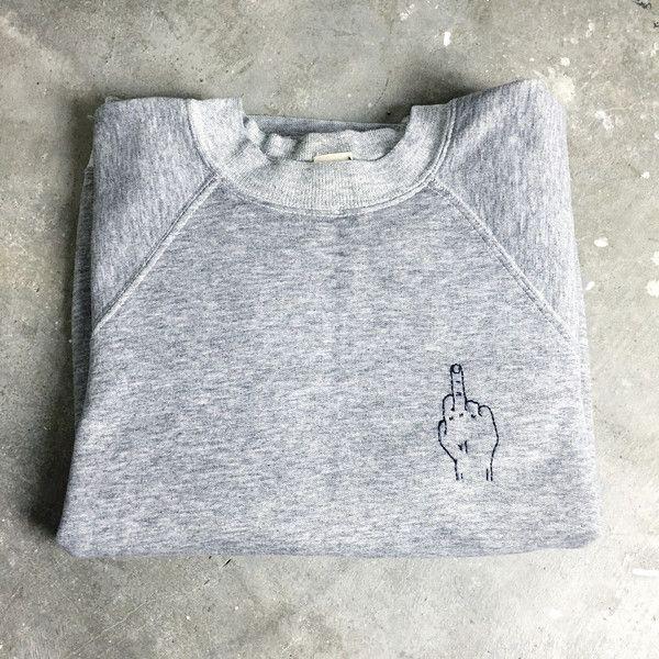 hand embroidered sweatshirt // f u