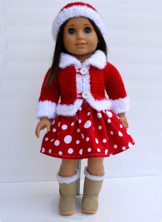 "Handknit 3 Pcs Christmas Sweater Hat Skirt Set Fits 18"" American Girl Doll"
