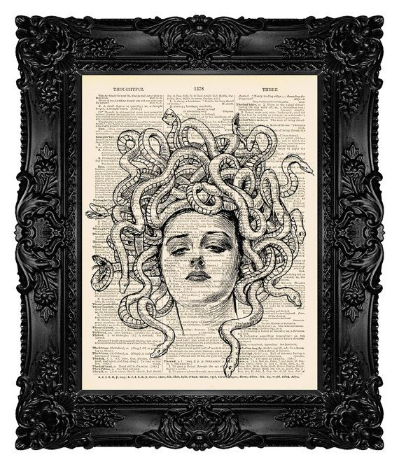 Medusa, Medusa Head, Mythical Creature, Greek Mythology, Medusa Wall Art, Medusa Dictionary, Dictionary Art Decor, Home Decor, Art Gift 38