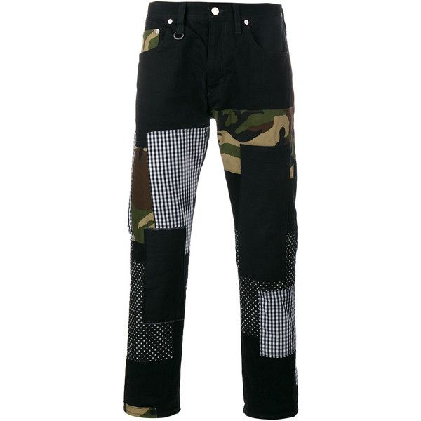 SOPHNET Patch Repair Camouflage Jeans ($445) ❤ liked on Polyvore featuring men's fashion, men's clothing, men's jeans, mens camouflage jeans, mens big star jeans, mens regular fit jeans and mens camo jeans