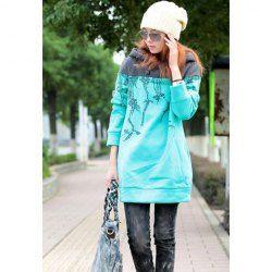 Casual Style Scoop Neck Hooded Pattern Printed Long Sleeve Cotton Fleece Women's Long Hoodie