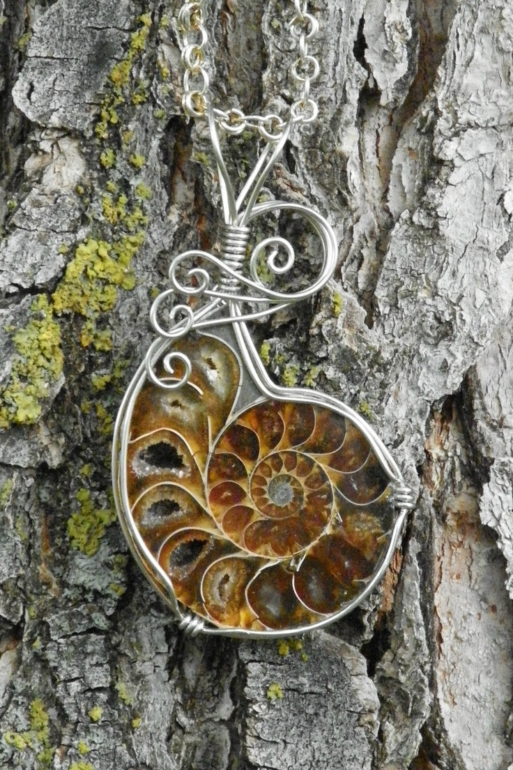 54 Best Wirework Images On Pinterest Wire Trees Jewelry Tree And Bonsai Wiring Techniques Ammonite Necklace Wrapped Fossil Pendant In Alpaca Silver