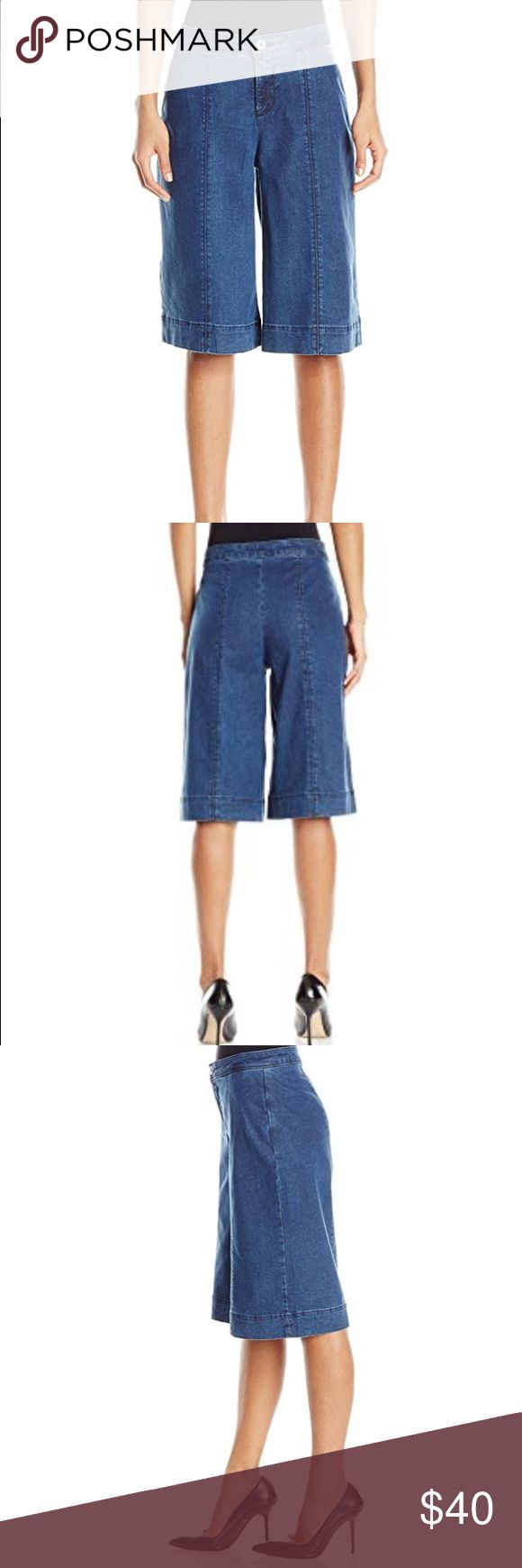 NYDJ Chambray Culottes NYDJ culottes hit right below the knee. Has stretch and runs a little big. A little worn in the inner thigh but denim is in good condition and has no thinning in fibers on inner thigh. NYDJ Jeans Ankle & Cropped