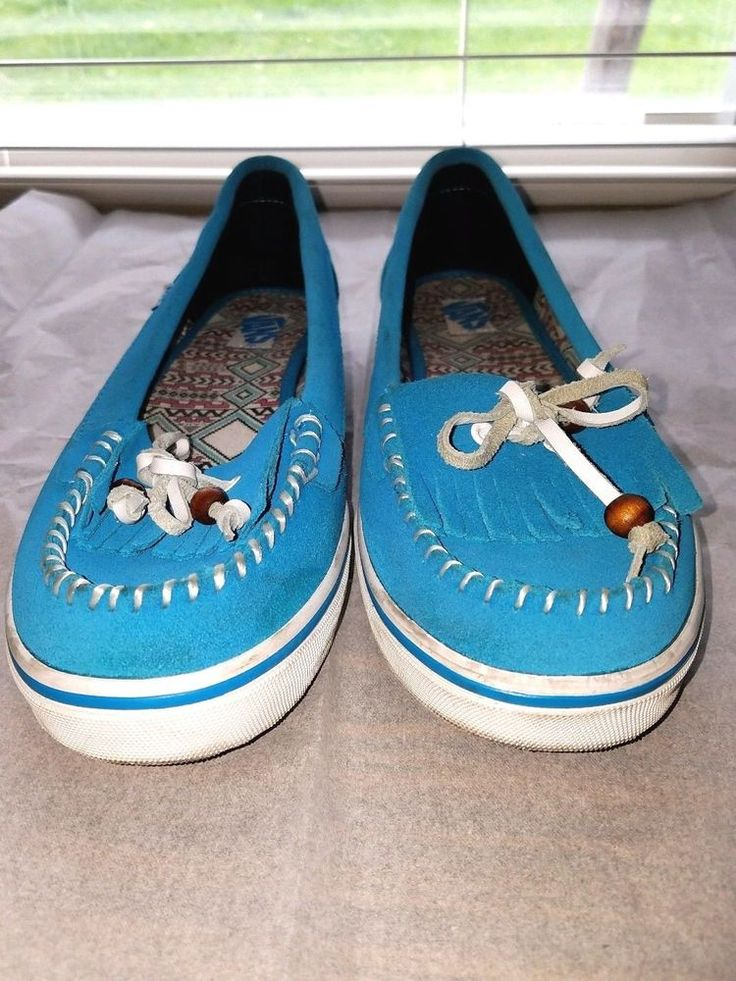 Vans Mikalah  Sz 9 Woman's Teal Moccasin Loafer Shoe Leather Upper w/ Beaded Tie #Vans #Walking