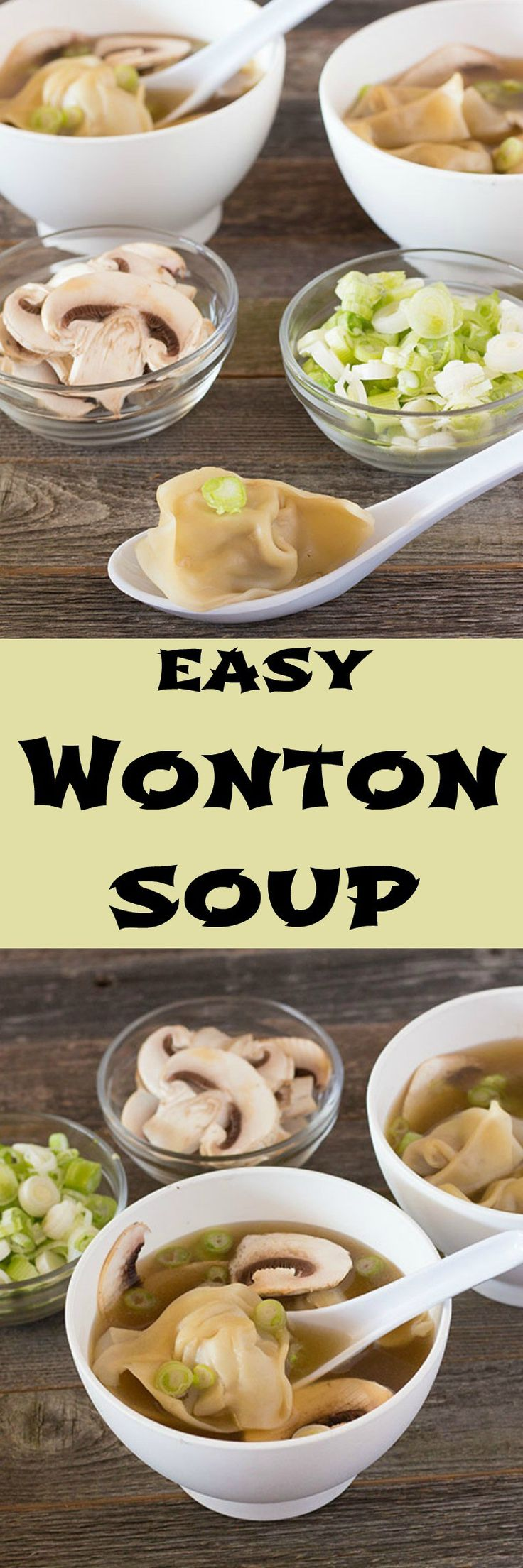 Homemade wontons simmered in rich chicken broth. No need for carry out with this recipe.
