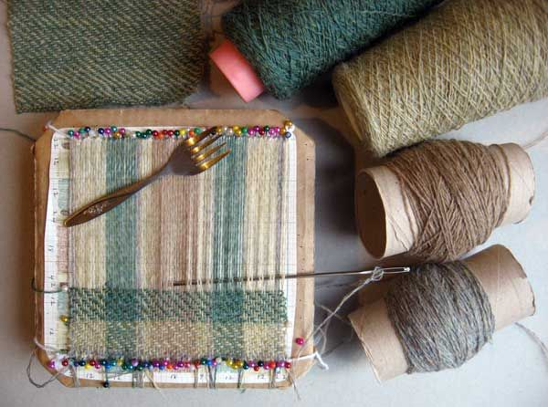 Ruths weaving projects: Tartan and Twill. Cardboard looms and pin weaving.