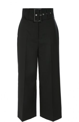 Женские чёрные укороченные брюки с завышенной талией и широким поясом GIVENCHY — купить за 89950 руб. в интернет-магазине ЦУМ, арт. 16A/5036/130