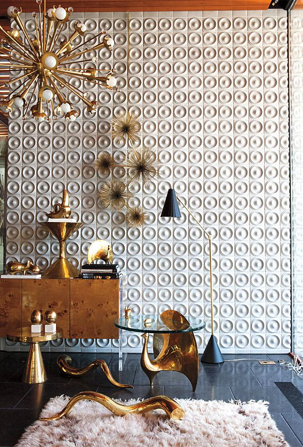 Tile & style inspiration for a bathroom.  Fabulous tiled wall from jonathan adler | Tumblr