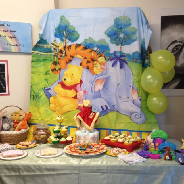 The Food Table And Nappy Cake At Pooh Bear Baby Shower! Love The Back Drop
