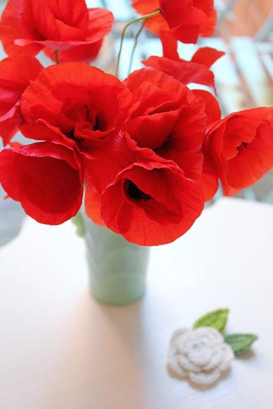 Red Poppies in simple mint green vase. Might be my new favorite color combo!