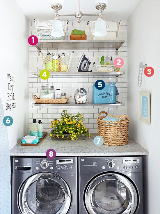 Get the how to organize here: http://www.bhg.com/blogs/better-homes-and-gardens-style-blog/2015/01/01/organize-this-space-saving-laundry-nook/