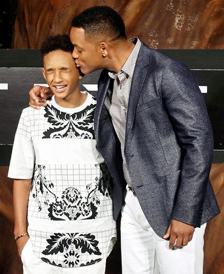 Jaden Smith squirmed as dad Will Smith gave him a peck while they promoted their sci-fi flick After Earth during the Summer of Sony in Cancun, Mexico April 23.