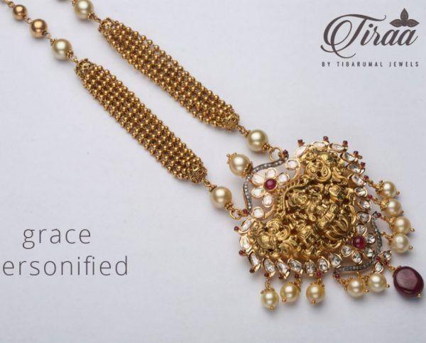 Gold Balls Chain with Lakshmi Pendant photo
