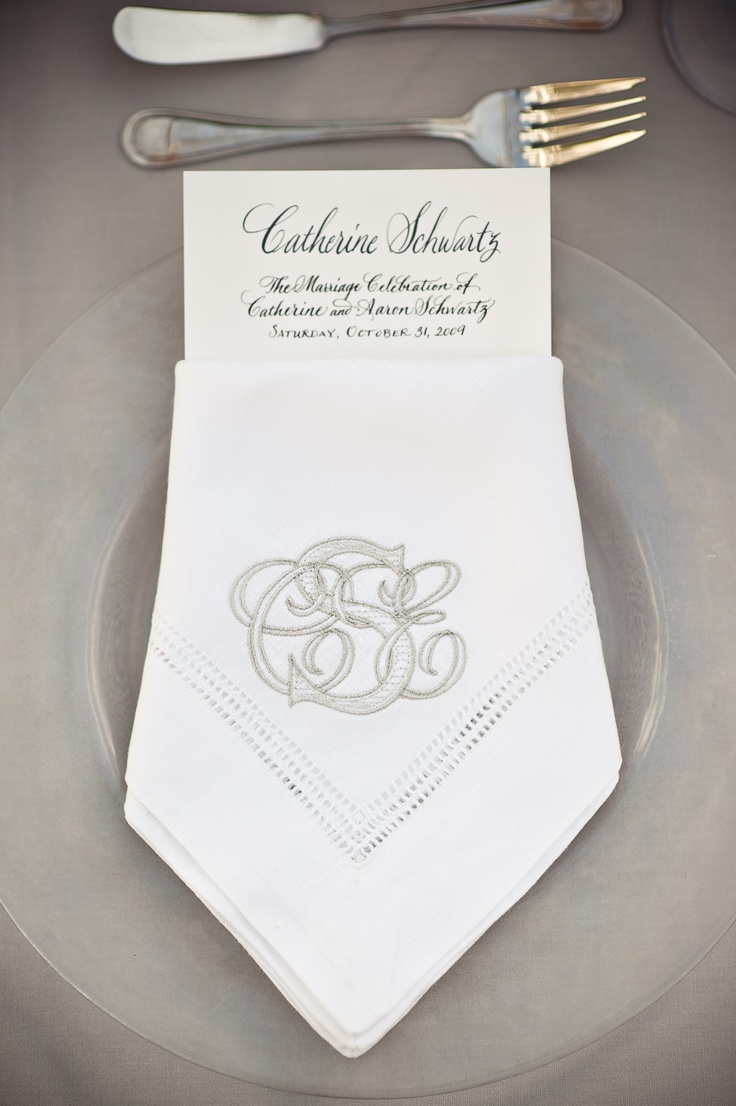 gray embroidered monogrammed napkin by @Peter Thomas Harris Clark. Photography by: Heather Forsythe #wedding