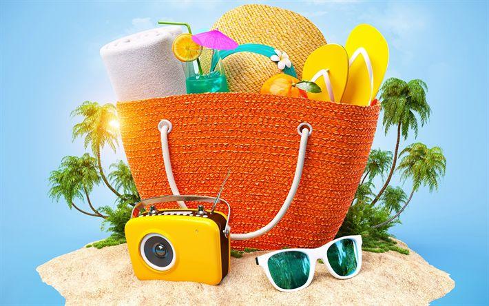 Hämta bilder Stranden tillbehör, koncept, rekreation, resor, sommarlov, beach, sommar, Tropiska öar