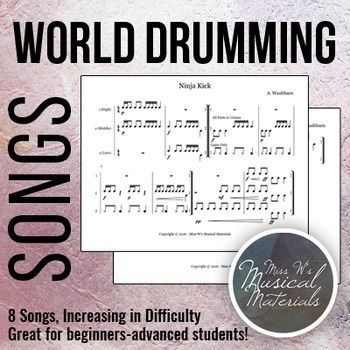 Simple to difficult world drumming songs! Lot's of fun for students!