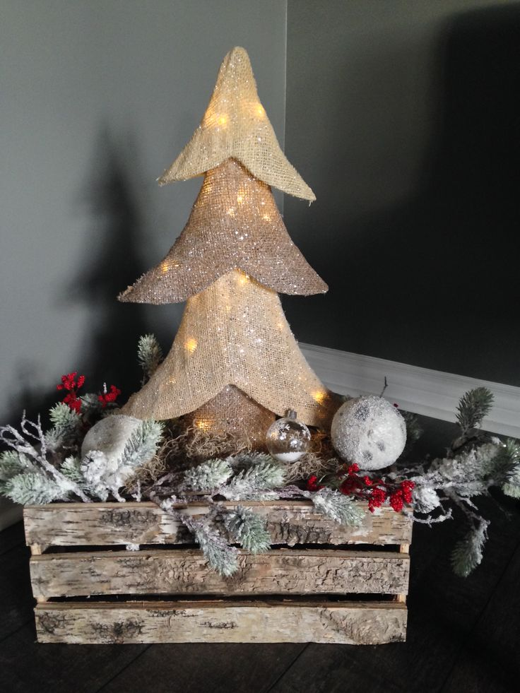 Easy DIY crate Christmas Décor.....just add some ornaments, leftover false berries, twigs, pincones and some lights to your favourite tree decoration!