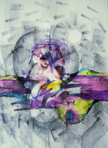 Agnieszka Giera, Sunstroke, ołówek, grafit, pastele olejne, akryl i kolaż na papierze