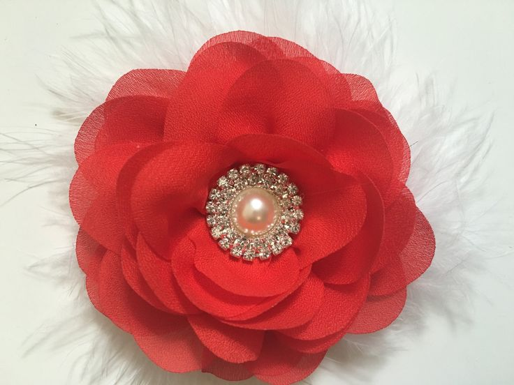 Red and White Chiffon Hair Flower Hair Clip. Christmas Holiday, Wedding Bridal Hair Flower Girl Hair Pieces, Dance Costume Competition, by FancyGirlBoutiqueNYC on Etsy