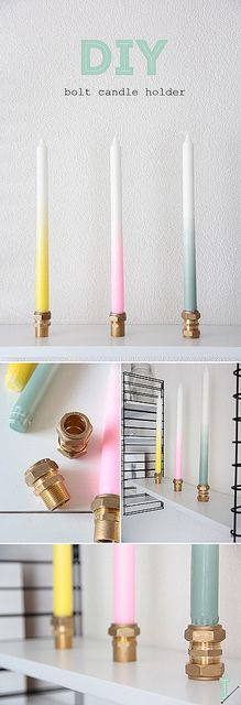DIY Bolt candle holders and ombre candles | easy crafting