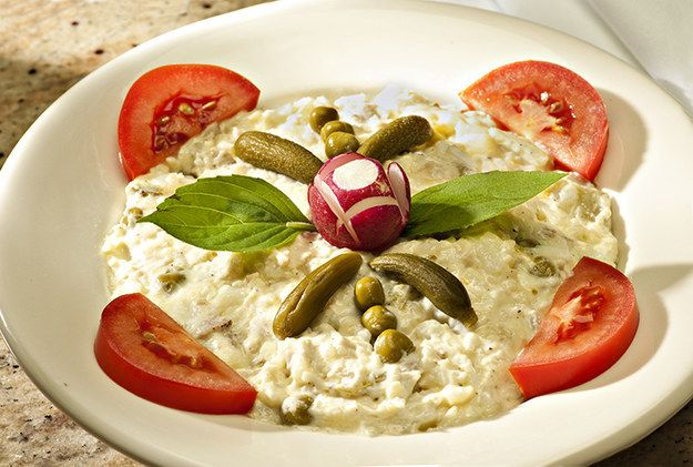 Salad Olivieh   Community Post: 20 Persian Foods To Blow Your Taste Buds Away - Chicken, eggs, potatoes, and pickles mixed with mayo for a Persian version of potato salad.