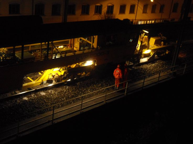 SBB technicians during after hour rail way maintenance. A friend is down there.