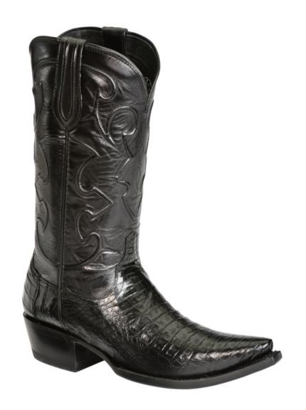 Handcrafted Lucchese 1883 Black Western Crocodile Belly Cowboy Boots - Snip Toe available at #Sheplers
