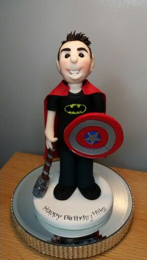 Polymer clay birthday cake topper!  Thor/Batman/Captain America/superman!