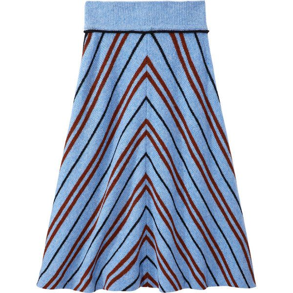Miu Miu Cielo Blue Striped Skirt ($1,200) ❤ liked on Polyvore featuring skirts, cielo, mid-calf skirts, stripe midi skirt, wool skirt, blue skirt and stripe skirt