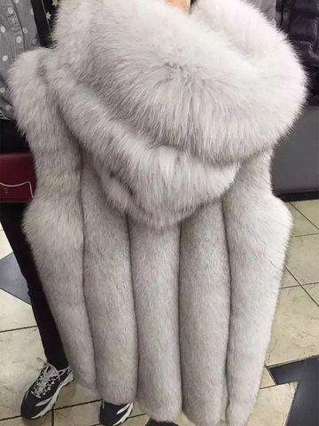 Elegante Kapuze Kunstpelz ärmellose Mäntel für Frauen   – ###$$$AASHOESTORE