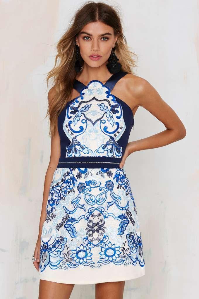 Three floor dress blue lace fabric