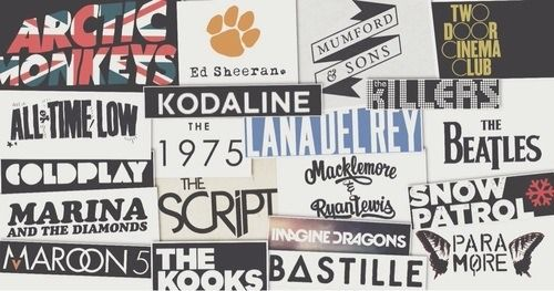 let's band together (Arctic Monkeys, Ed Sheeran, Mumford & Sons, Two Door Cinema Club, The 1975, Lana Del Rey, The Beatles, Snow Patrol, Paramore, Bastille, Imagine Dragons, Maroon 5, The Kooks, Coldplay, The Killers, All Time Low, The Script)