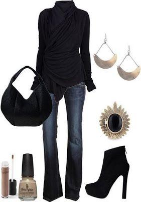 Moda, Fabulous women outfits 2014, stud heels, vintage black, turtleneck, smart, classics