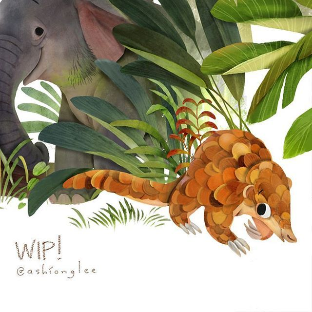 """World Pangolin Day is celebrated on the third Saturday in February and it is today! (18th february 2017). Actually what i always remember about pangolin is their latin name, """"Manis"""", which in indonesia it means """"sweet"""". The sweetest mammal. ❤💜  #ashiongdraws"""