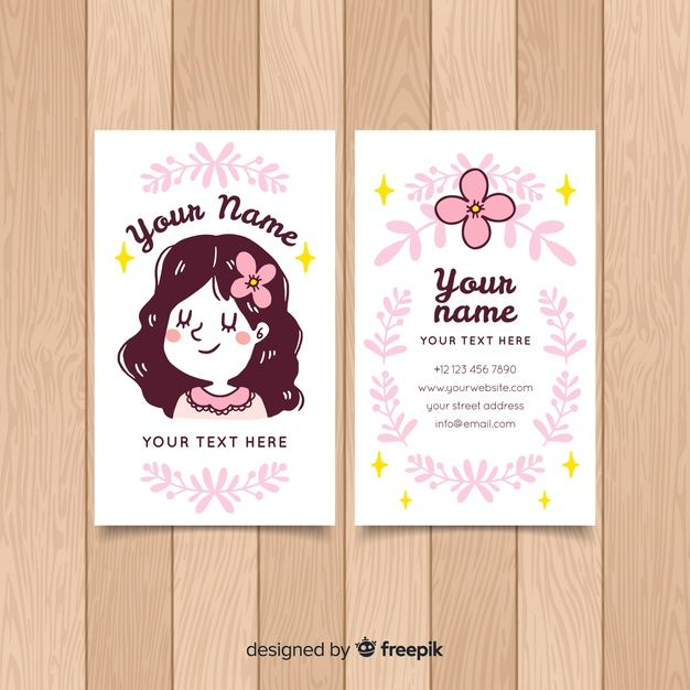 Download Hand Drawn Kawaii Character Business Card Template For Free Cute Business Cards Art Business Cards Illustration Business Cards